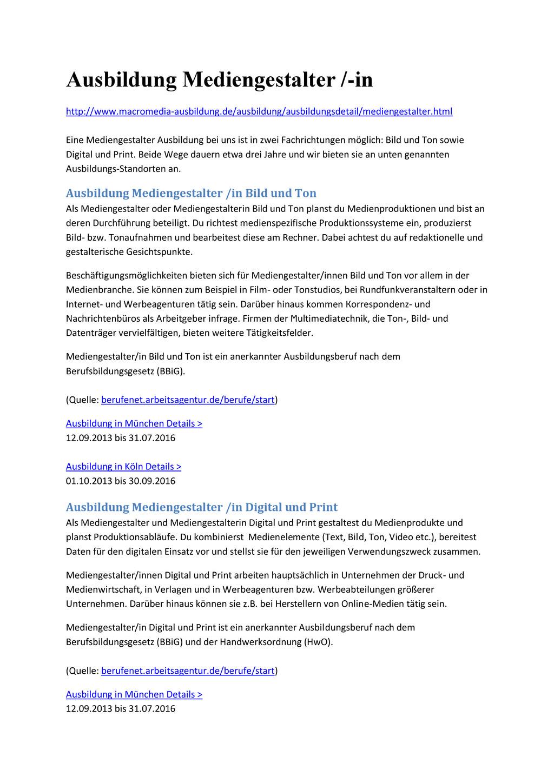 Ausbildung Mediengestalter /-in http://www.macr...