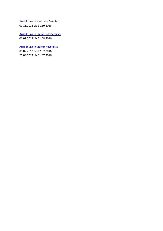 Ausbildung in Hamburg Details > 01.11.2013 bis ...