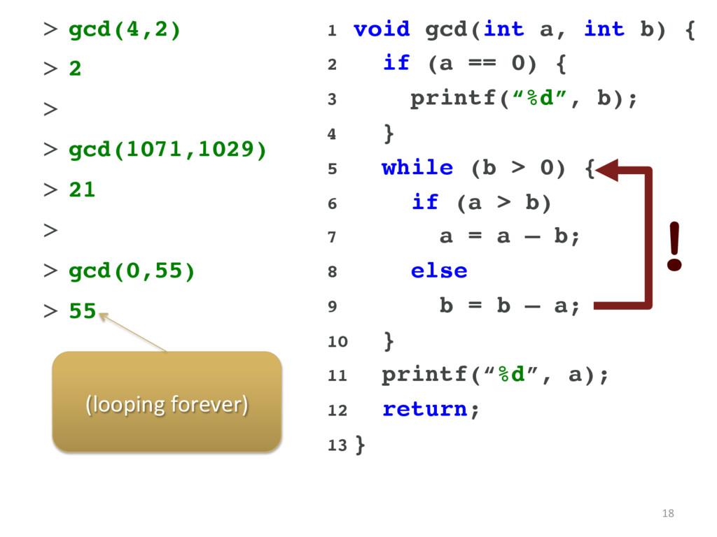 18 1 void gcd(int a, int b) { 2 if (a == 0) {...