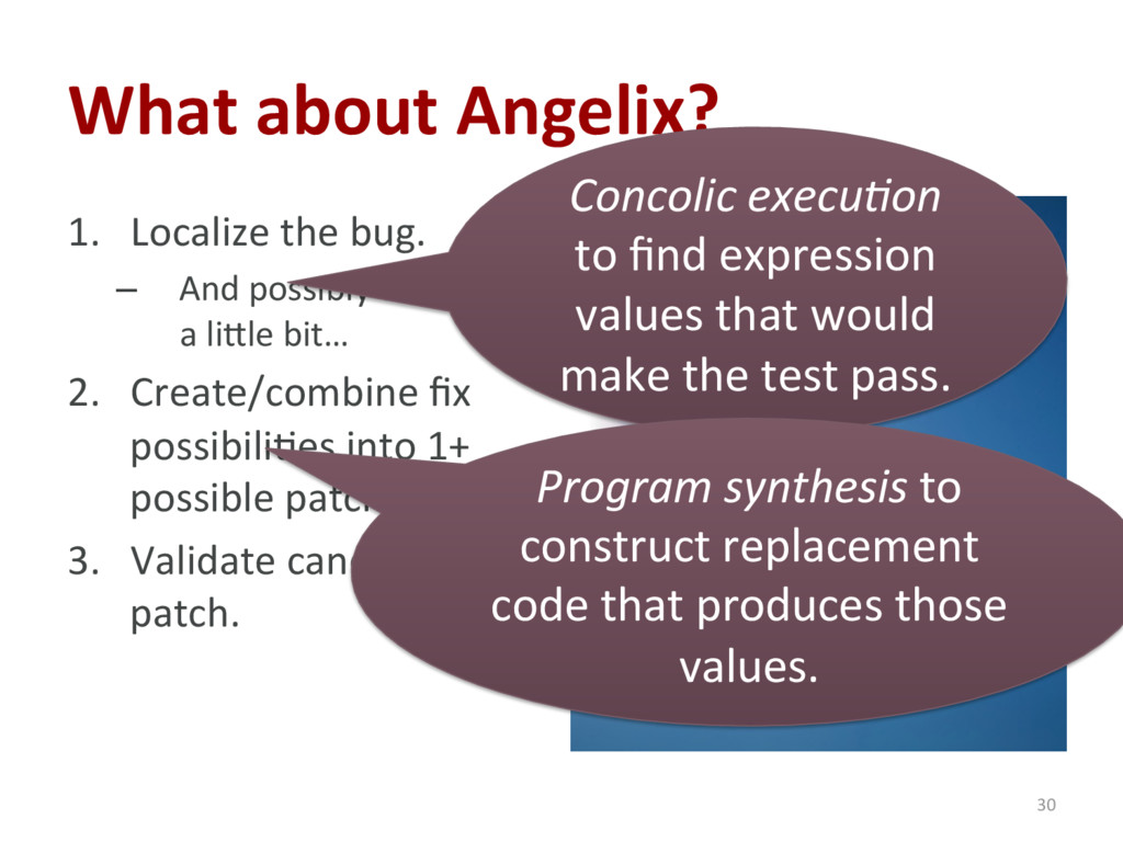 What about Angelix? 1. Localize the bug. – An...