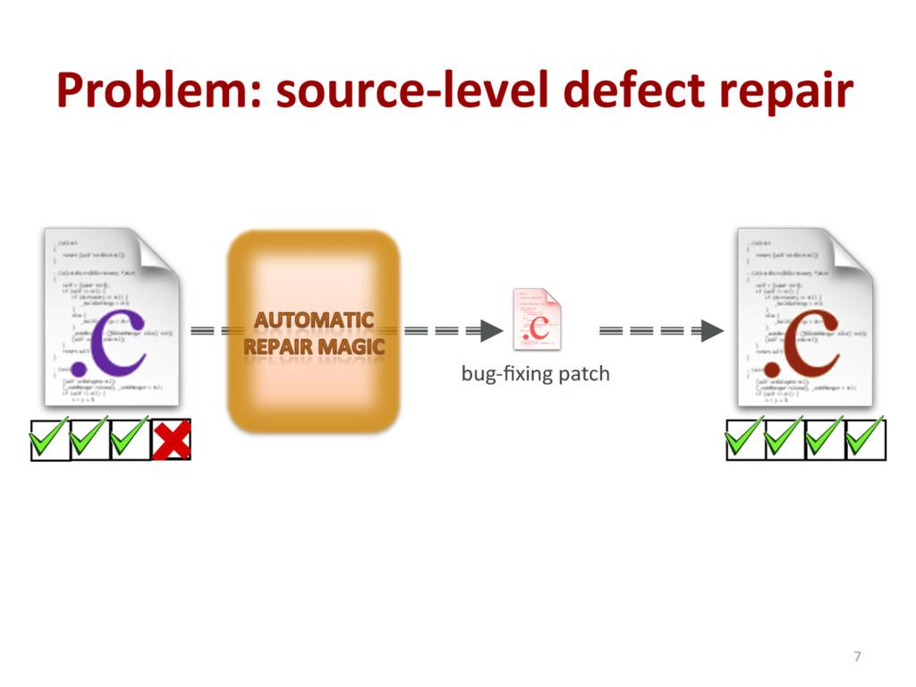 Problem: source-level defect repair 7 bug-fixing...