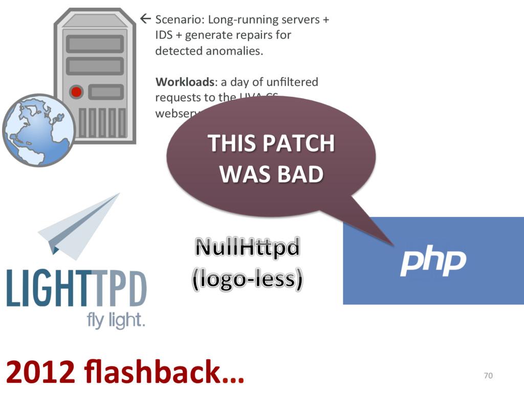 70 2012 flashback… ßScenario: Long-running serv...