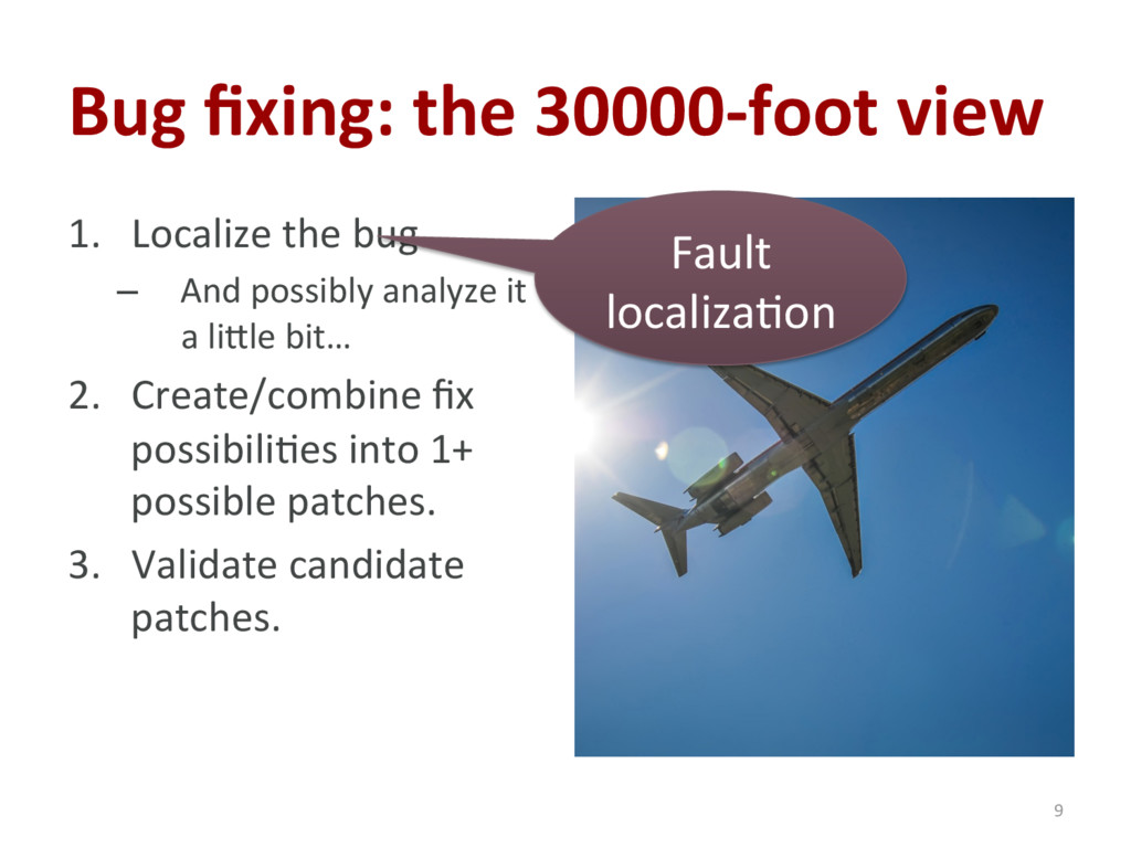Bug fixing: the 30000-foot view 1. Localize the...