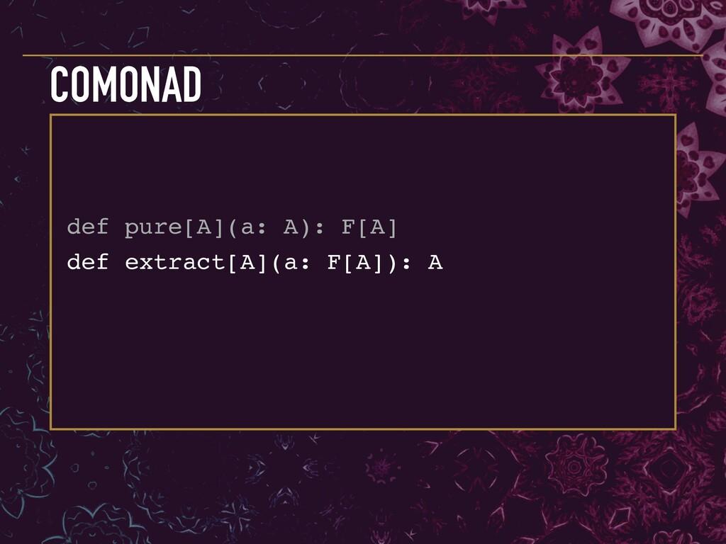 def extract[A](a: F[A]): A COMONAD def pure[A](...