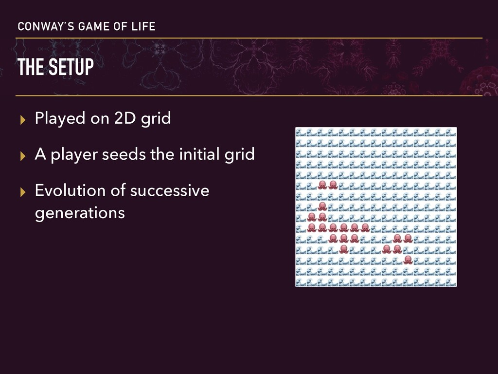 CONWAY'S GAME OF LIFE THE SETUP ▸ Played on 2D ...