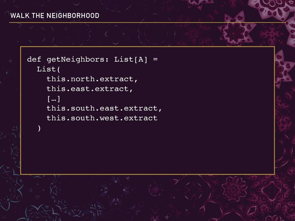 def getNeighbors: List[A] = List( this.north....