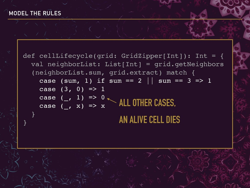 def cellLifecycle(grid: GridZipper[Int]): Int =...