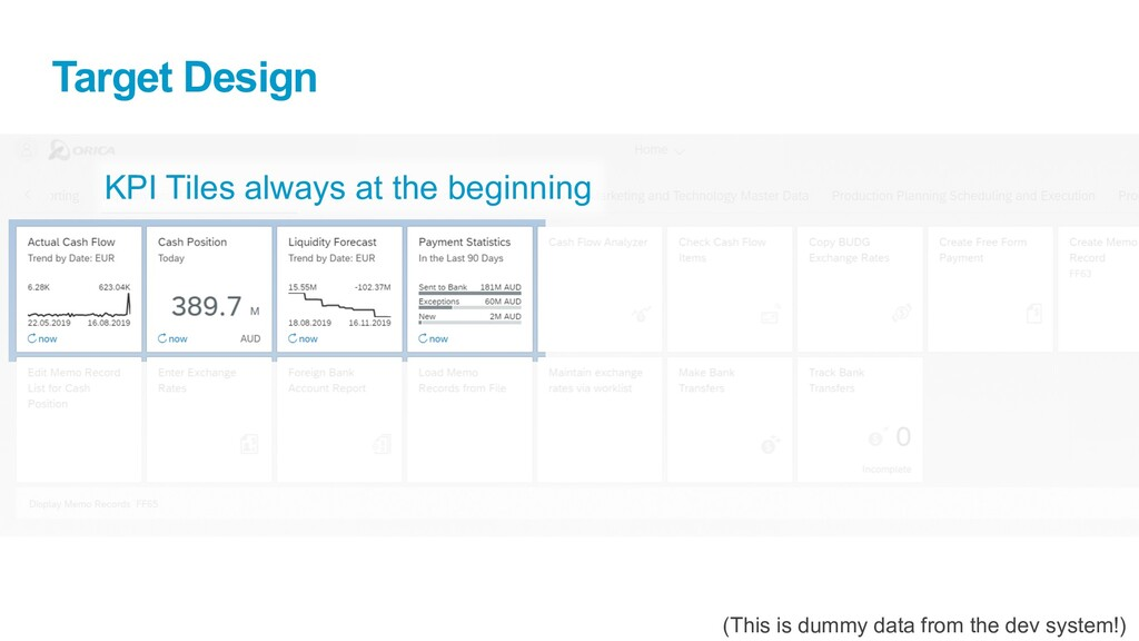 Target Design (This is dummy data from the dev ...