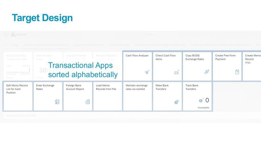 Target Design Transactional Apps sorted alphabe...