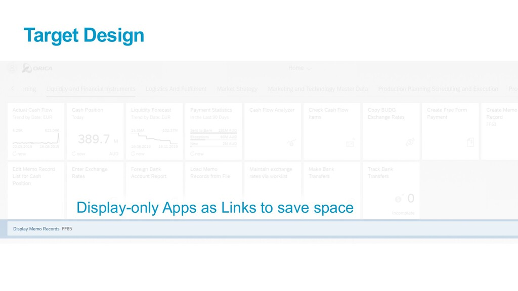 Target Design Display-only Apps as Links to sav...