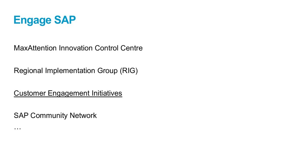 Engage SAP MaxAttention Innovation Control Cent...