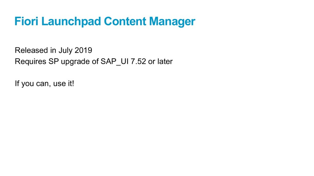 Fiori Launchpad Content Manager Released in Jul...