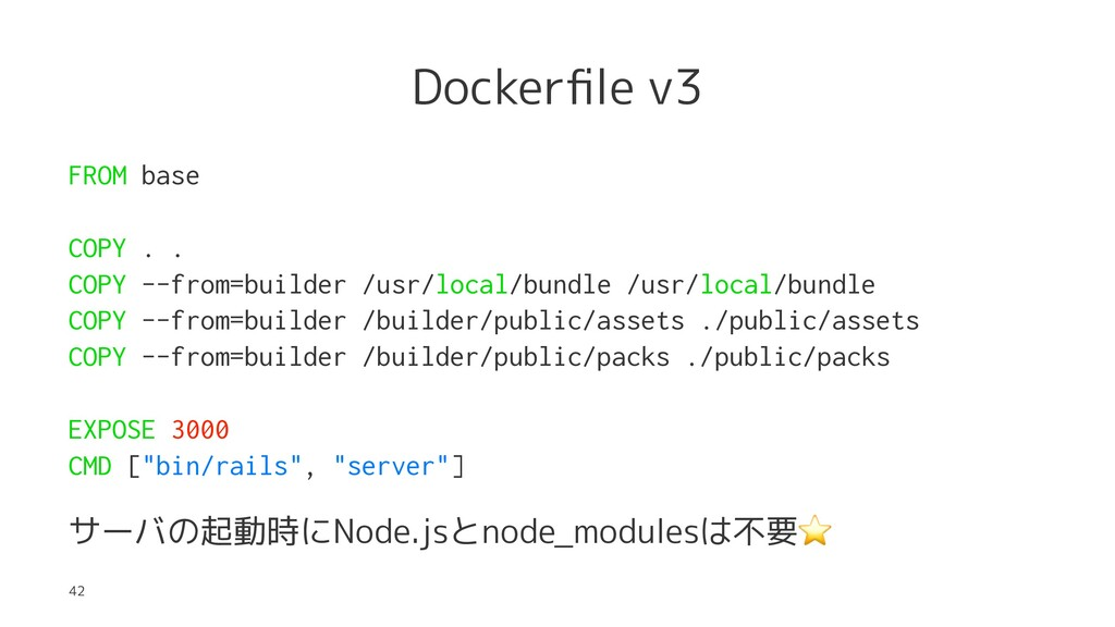 Dockerfile v3 FROM base COPY . . COPY --from=bui...