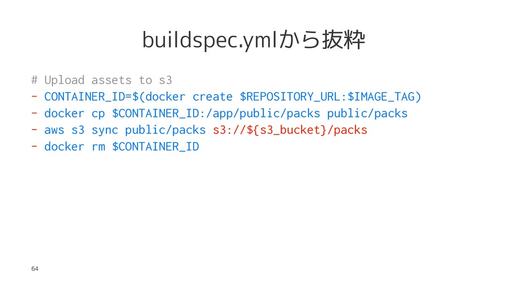 buildspec.ymlから抜粋 # Upload assets to s3 - CONTA...