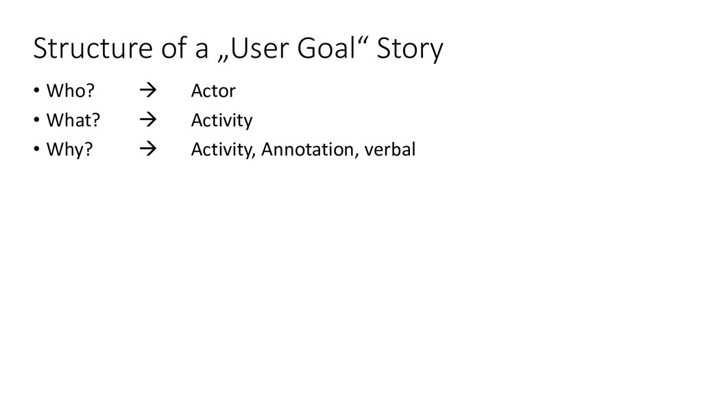 """Structure of a """"User Goal"""" Story • Who?  Actor..."""