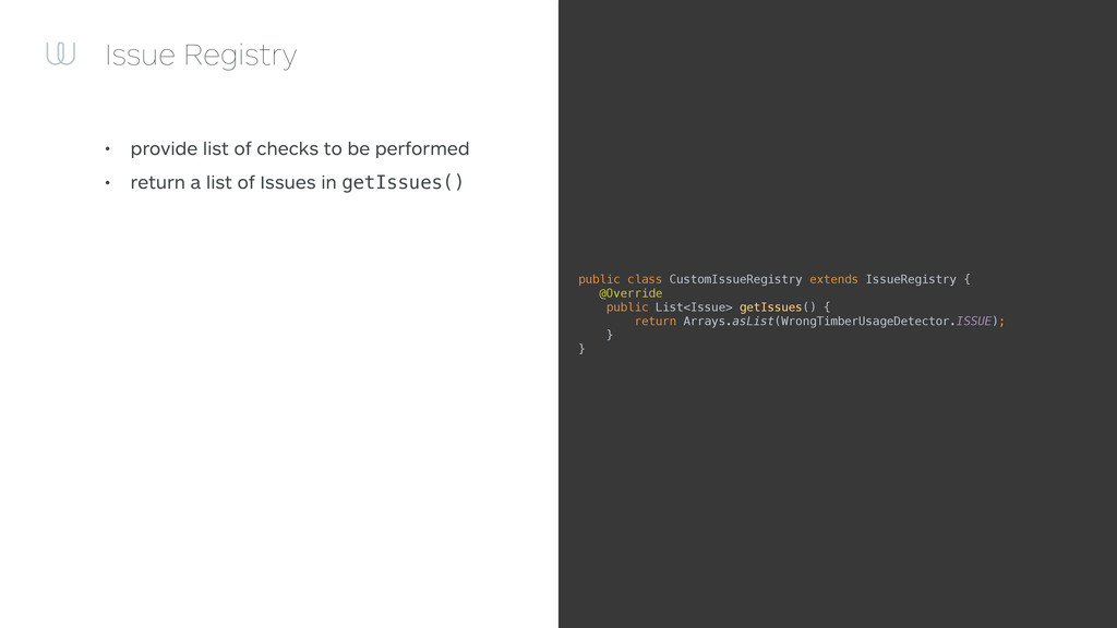 Issue Registry • provide list of checks to be p...
