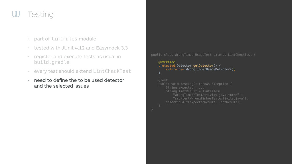 Testing • part of lintrules module • tested wit...