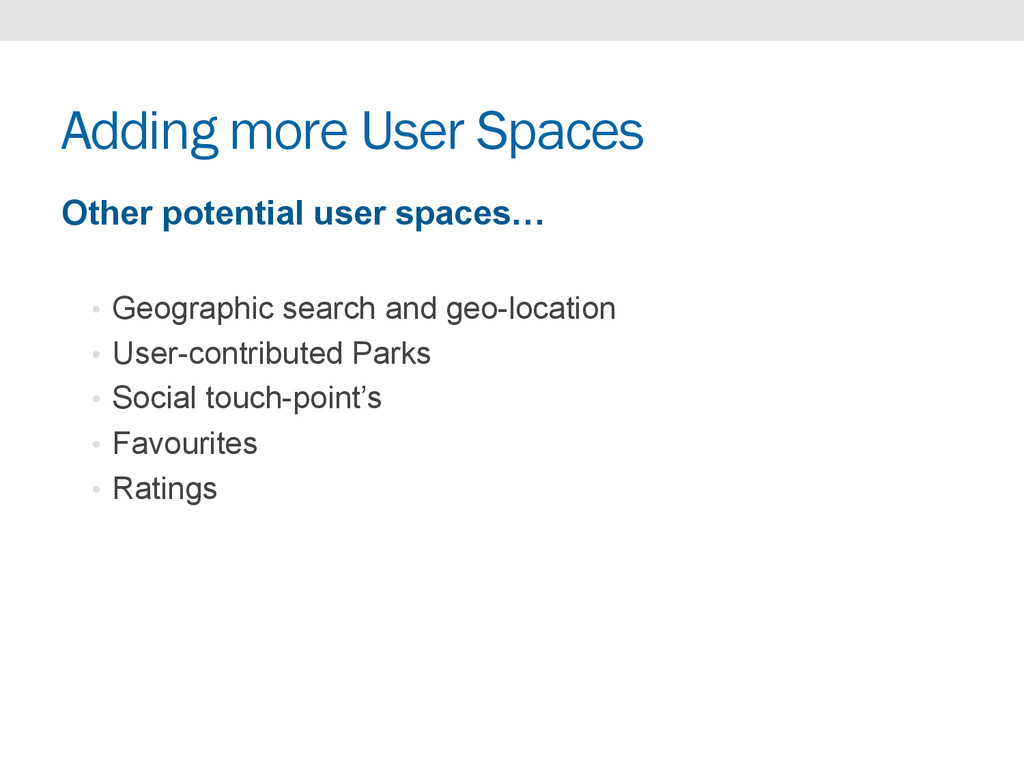 Adding more User Spaces Other potential user sp...