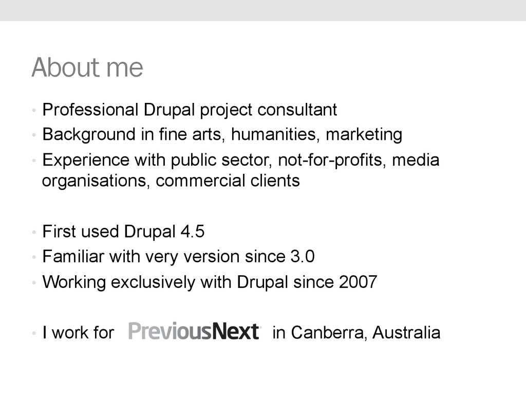 About me •  Professional Drupal project consult...