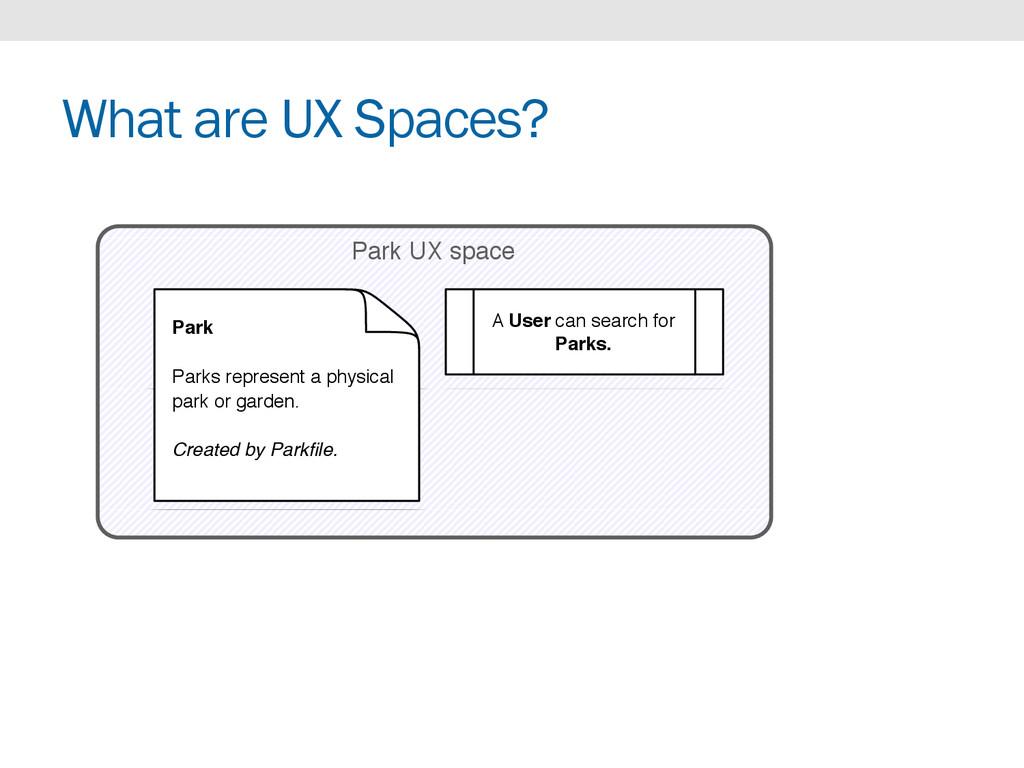 What are UX Spaces? Park UX space Park Parks re...