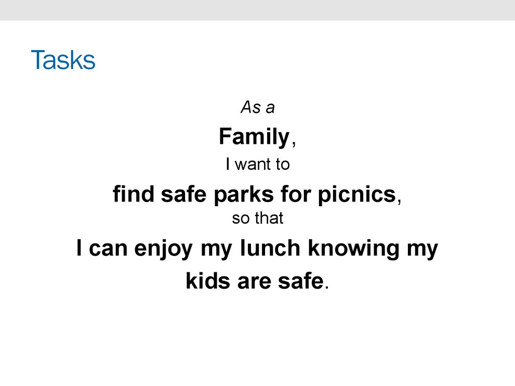 Tasks As a Family, I want to find safe parks fo...