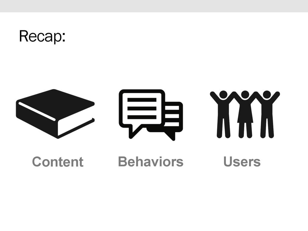 Content Users Behaviors Recap: