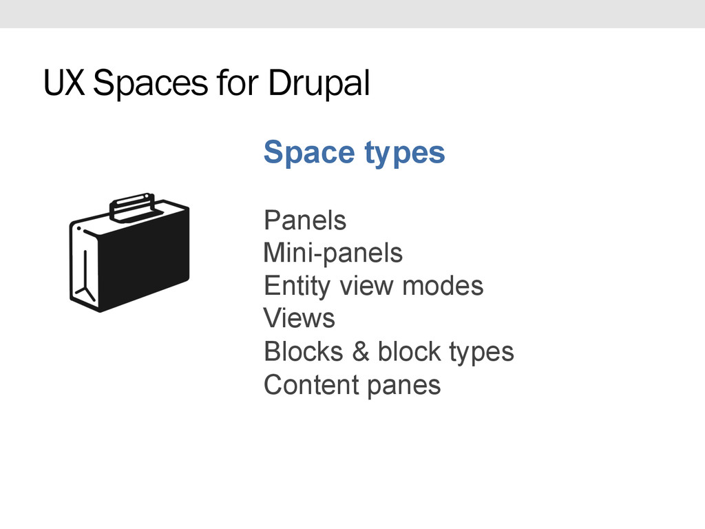 Space types Panels Mini-panels Entity view mode...