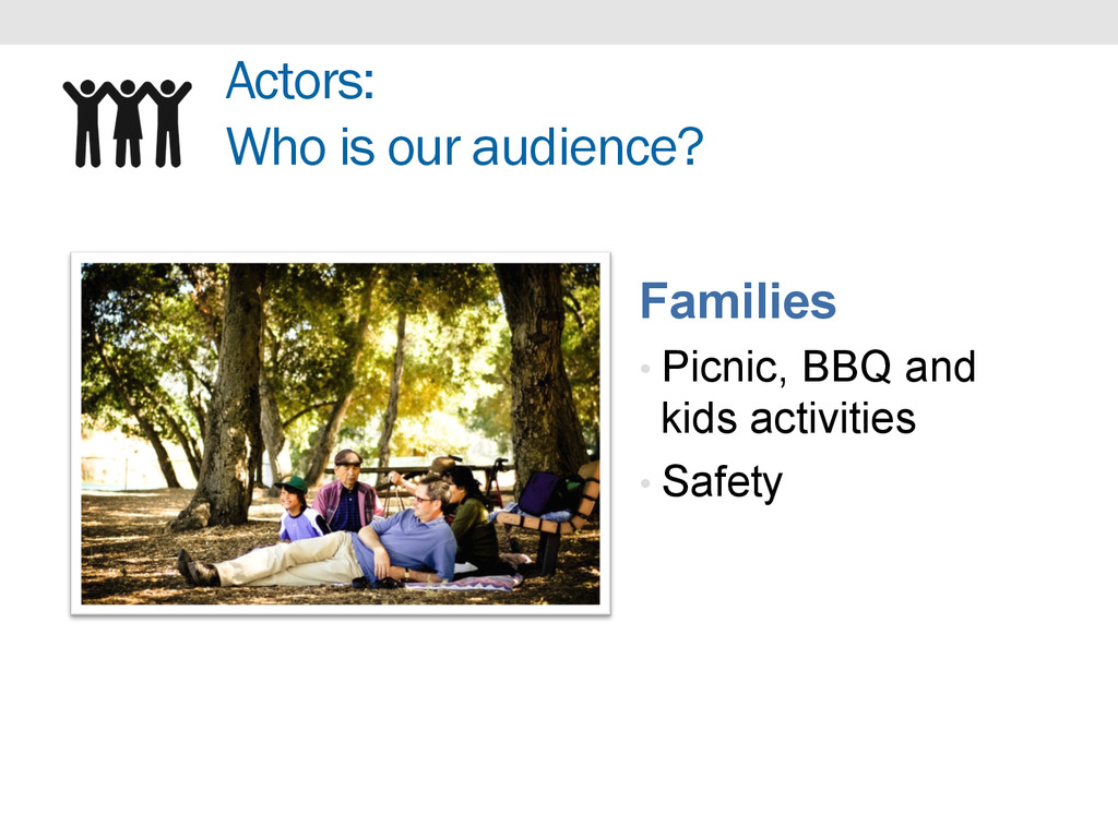 Actors: Who is our audience? Families • Picnic,...