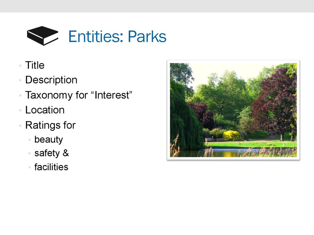 Entities: Parks • Title • Description • Taxo...