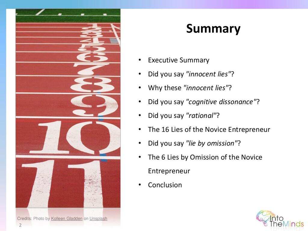 "Summary 2 • Executive Summary • Did you say ""in..."