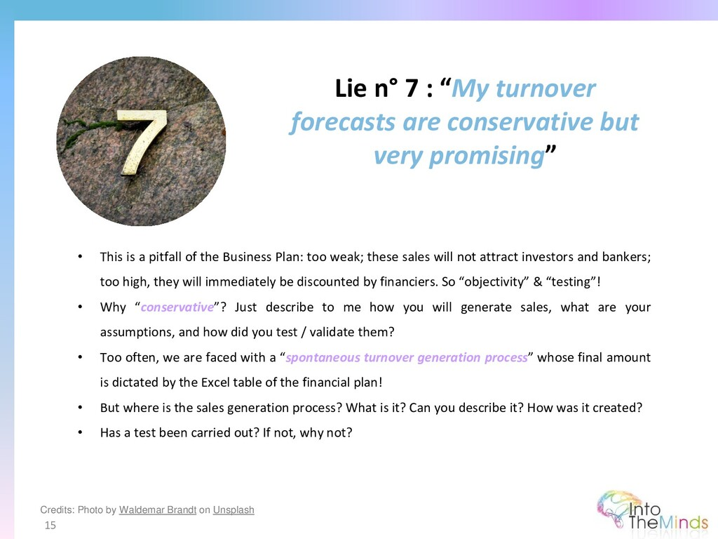 """Lie n° 7 : """"My turnover forecasts are conservat..."""
