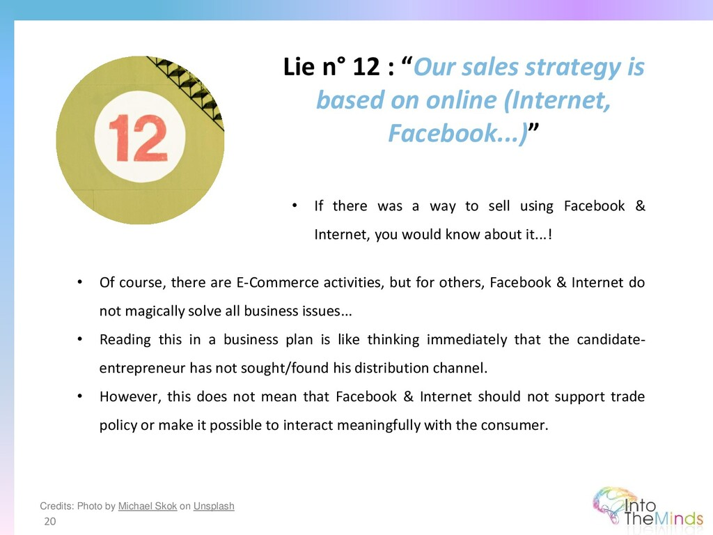 """Lie n° 12 : """"Our sales strategy is based on onl..."""