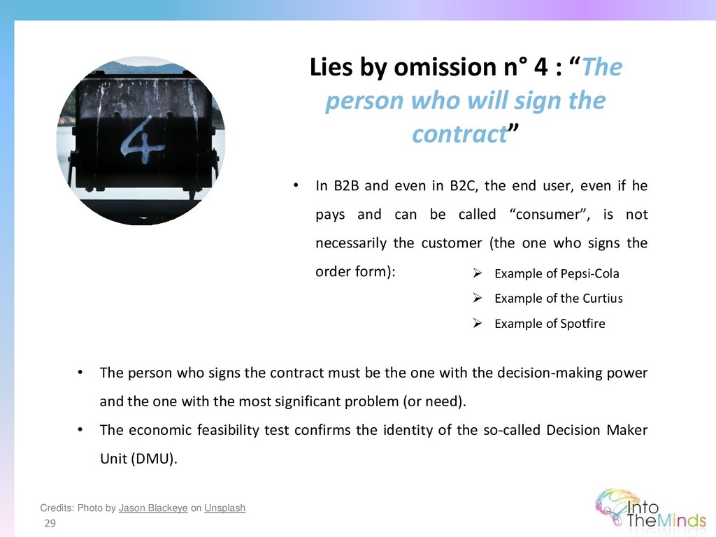 """Lies by omission n° 4 : """"The person who will si..."""