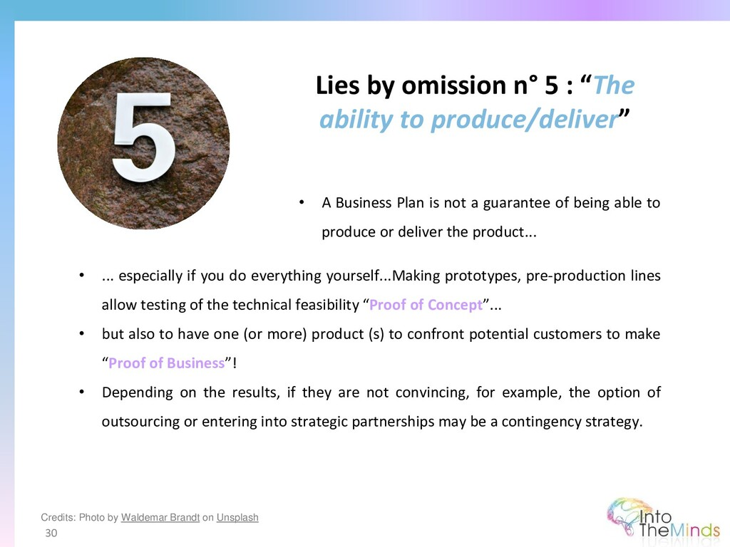 """Lies by omission n° 5 : """"The ability to produce..."""