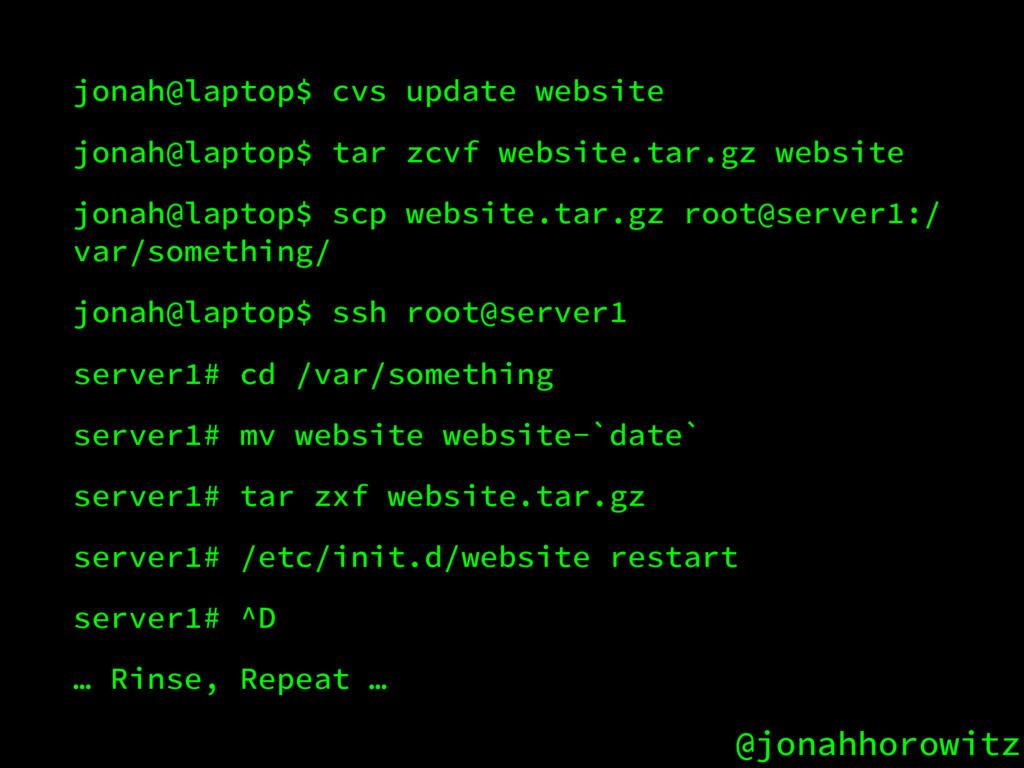 @jonahhorowitz jonah@laptop$ cvs update website...