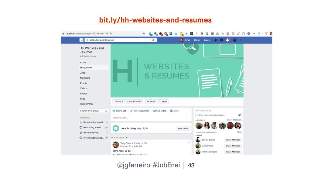 @jgferreiro #JobEnei | 43 bit.ly/hh-websites-an...
