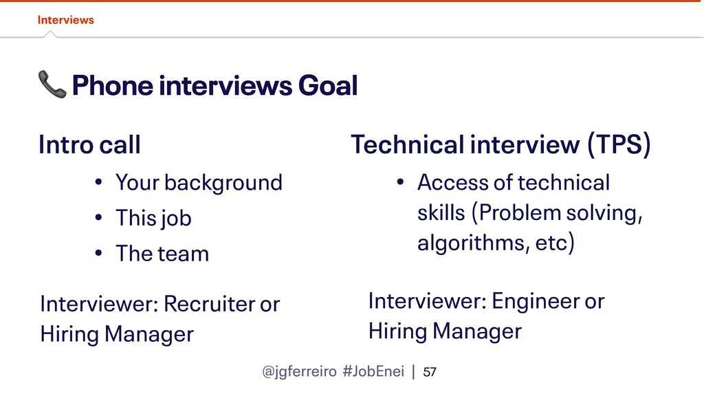 @jgferreiro #JobEnei |  Phone interviews Goal I...