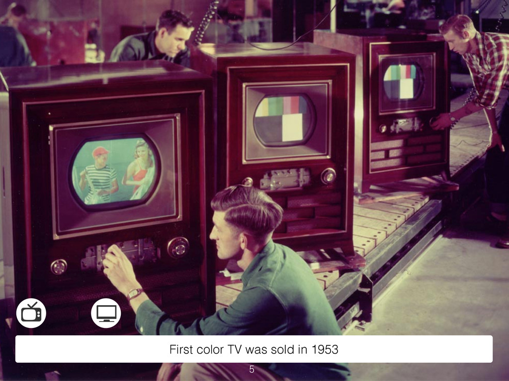 First color TV was sold in 1953 5