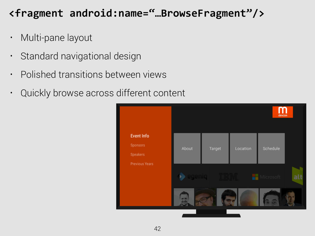 """42 <fragment android:name=""""…BrowseFragment""""/..."""