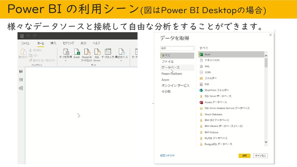 Power BI の利用シーン(図はPower BI Desktopの場合) 様々なデータソー...