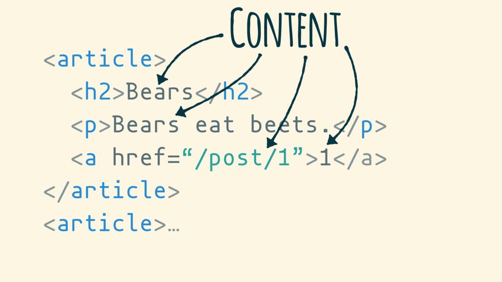 <article> <h2>Bears</h2> <p>Bears eat beets.</p...