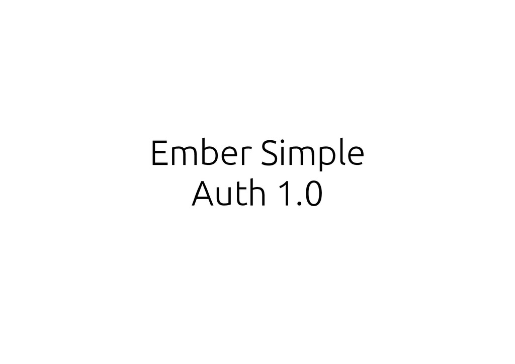 Ember Simple Auth 1.0