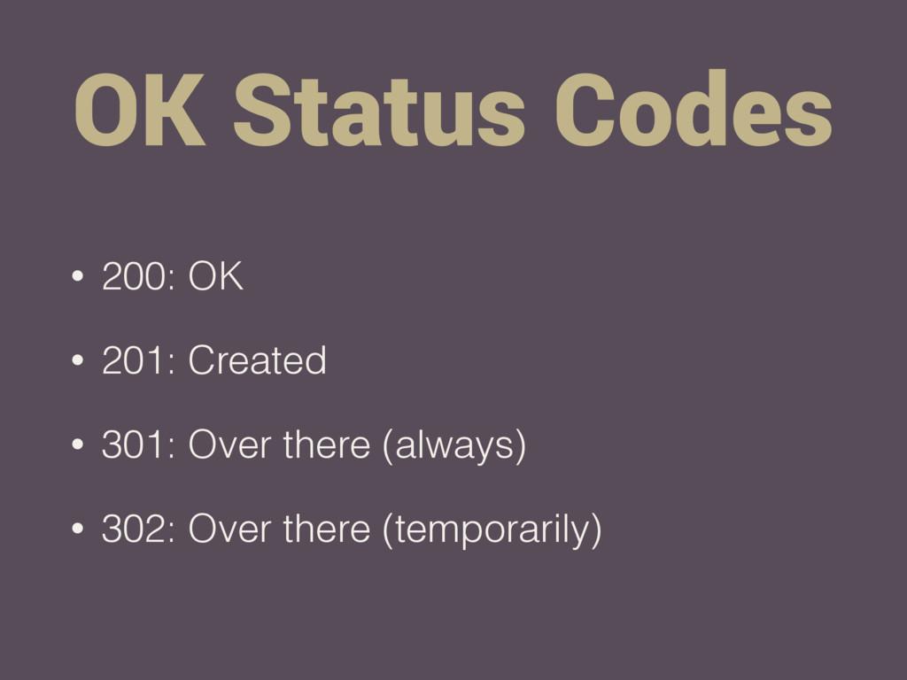 OK Status Codes • 200: OK • 201: Created • 301:...