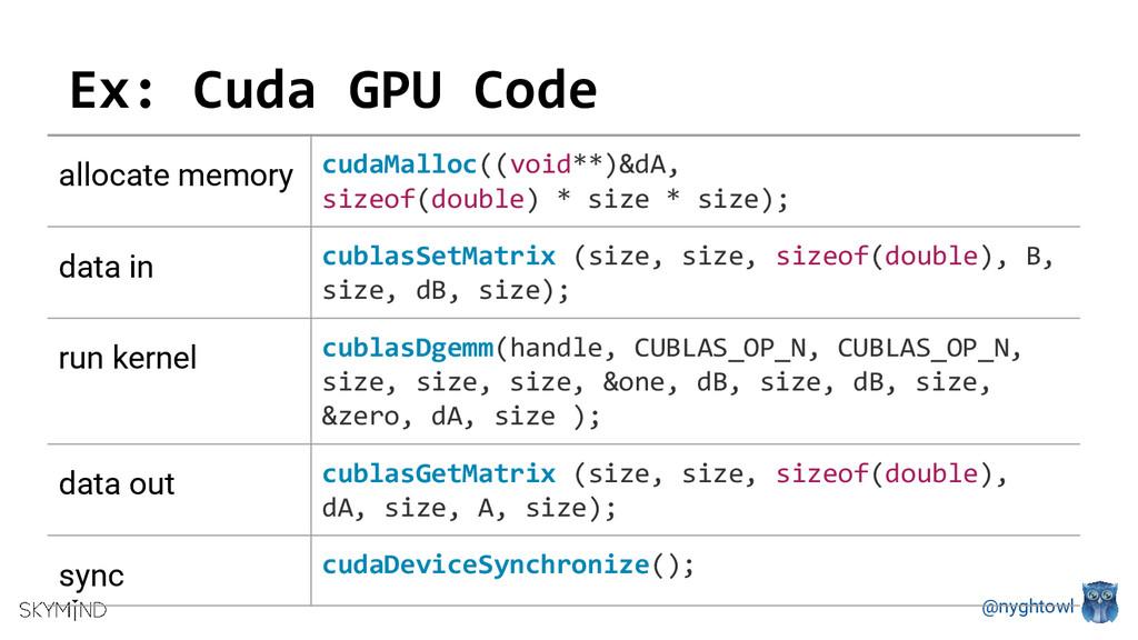 @nyghtowl Ex: Cuda GPU Code allocate memory cud...
