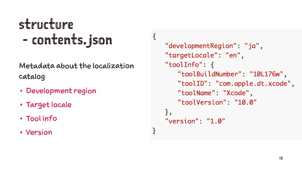 structure - contents.json Metadata about the lo...
