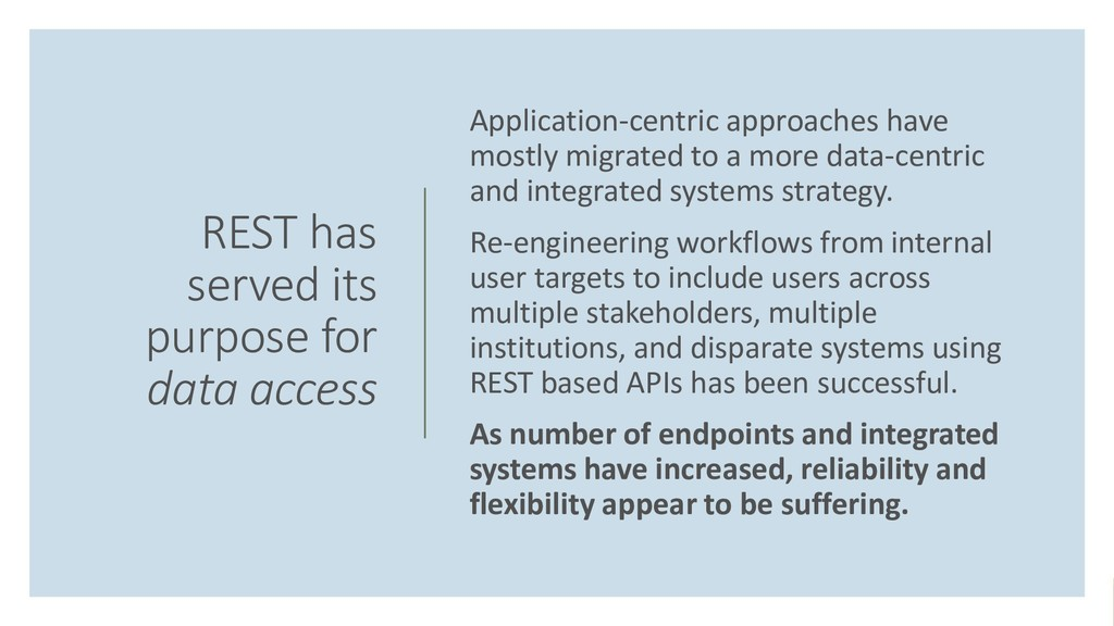 REST has served its purpose for data access App...