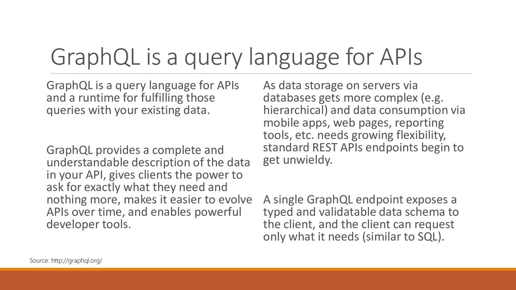 GraphQL is a query language for APIs GraphQL is...