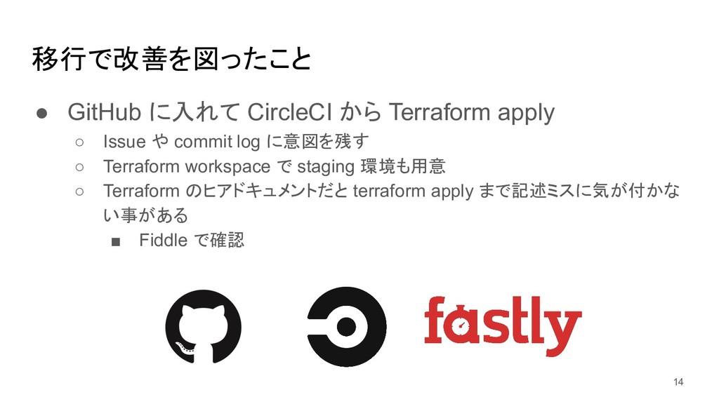 移行で改善を図ったこと ● GitHub に入れて CircleCI から Terraform...