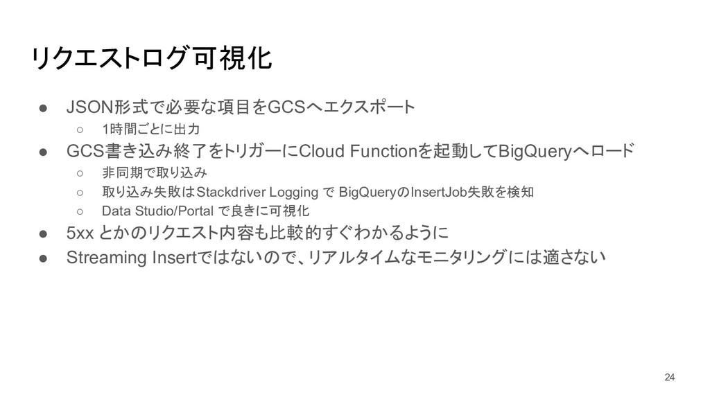リクエストログ可視化 ● JSON形式で必要な項目をGCSへエクスポート ○ 1時間ごとに出力...