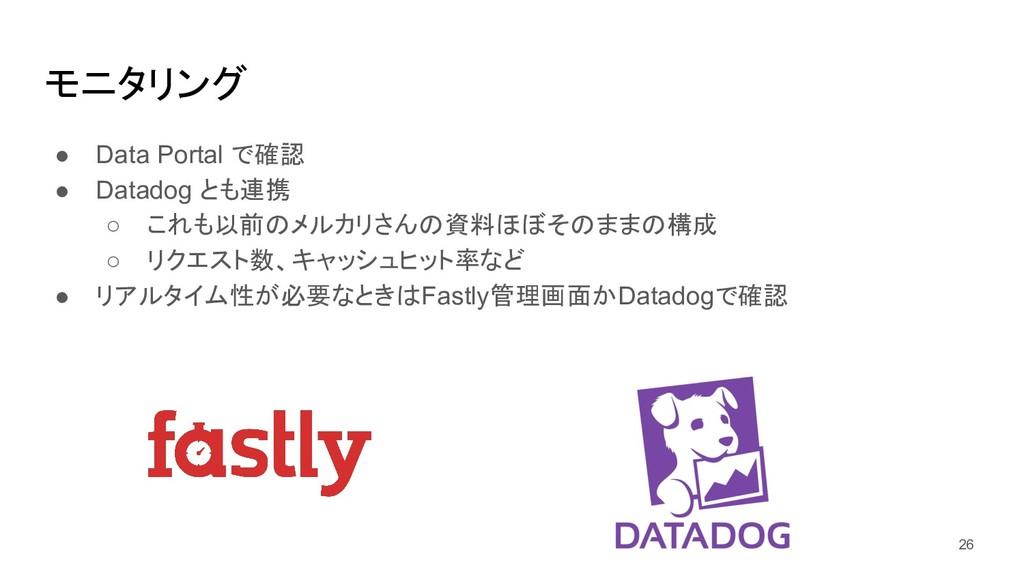 モニタリング ● Data Portal で確認 ● Datadog とも連携 ○ これも以前...